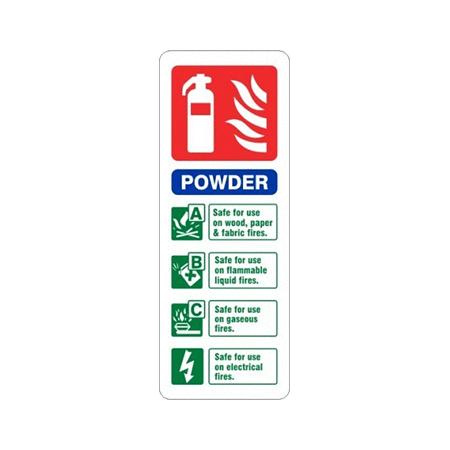 7.5cm x 20cm Powder Fire Extinguisher Identification Sign