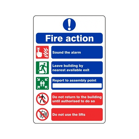 20cm x 30cm Fire Action Signs