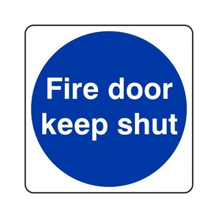 8cm x 8cm Fire Door Keep Shut Signs