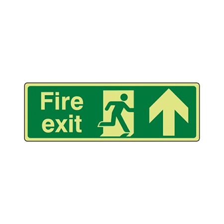 30cm x 10cm Photoluminescent Fire Exit Arrow Up Signs
